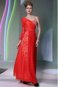 Asymmetric Long Sleeves Side Zipper Mother of the Bride Dress Coral Red Chiffon