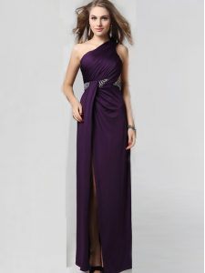 One Shoulder Sleeveless Criss Cross Mother Of The Bride Dress Purple Elastic Woven Satin