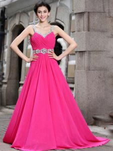 Hot Pink Sleeveless Brush Train Beading Mother Of The Bride Dress