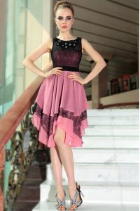 New Style Scoop Asymmetrical Pink And Black Mother Dresses Chiffon Sleeveless Beading and Lace
