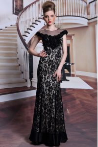 Scoop Cap Sleeves Lace Floor Length Zipper Mother of Groom Dress in Black with Beading and Lace and Hand Made Flower