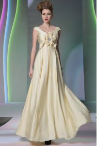 Superior Chiffon Scoop Cap Sleeves Side Zipper Beading and Ruching and Hand Made Flower Mother of the Bride Dress in Light Yellow