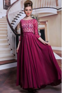 Chiffon Bateau 3 4 Length Sleeve Zipper Lace and Sequins Mother Of The Bride Dress in Fuchsia