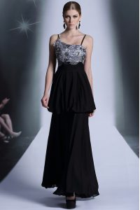 Embroidery and Sequins and Hand Made Flower Mother Dresses Black Side Zipper Sleeveless Floor Length