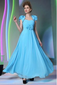 Classical Beading and Hand Made Flower Mother Of The Bride Dress Baby Blue Zipper Cap Sleeves Floor Length