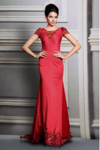 Scoop Red Mother of Bride Dresses Satin Court Train Short Sleeves Appliques