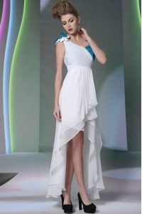 White Sleeveless High Low Ruffled Layers and Sequins and Hand Made Flower Side Zipper Mother Of The Bride Dress