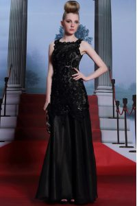 Excellent Scoop Beading and Lace and Hand Made Flower Mother of Bride Dresses Black Zipper Sleeveless Floor Length