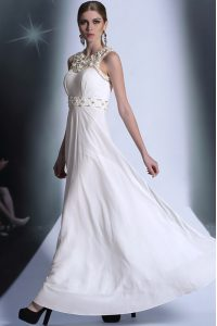 Custom Made Scoop Sleeveless Chiffon Mother Of The Bride Dress Beading and Hand Made Flower Zipper