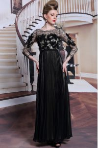Appliques and Sequins Mother Of The Bride Dress Black Clasp Handle 3 4 Length Sleeve Asymmetrical
