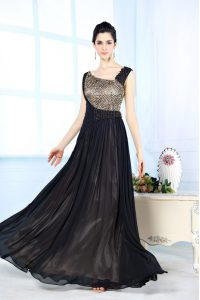 Simple Black Asymmetric Neckline Beading Mother Dresses Sleeveless Side Zipper