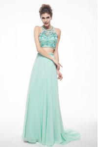 Dazzling Scoop With Train Apple Green Mother Of The Bride Dress Chiffon Brush Train Sleeveless Beading