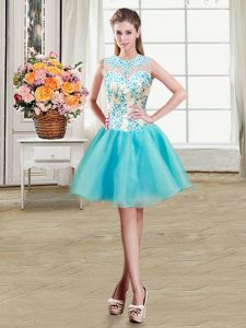 Fashionable Scoop See Through Aqua Blue Zipper Mother Of The Bride Dress Beading Sleeveless Mini Length