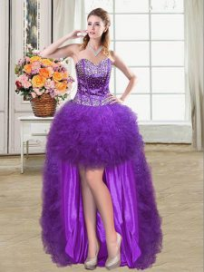 Eggplant Purple Lace Up Mother of the Bride Dress Beading and Ruffles Sleeveless Mini Length