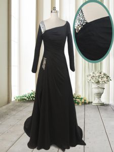 Fantastic Black A-line Beading Mother Of The Bride Dress Side Zipper Chiffon Long Sleeves With Train