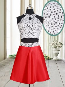 Halter Top White And Red Sleeveless Mini Length Beading Criss Cross Evening Dress