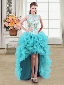 Free and Easy Scoop See Through Aqua Blue Zipper Evening Wear Beading Sleeveless High Low