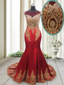 Brush Train Mermaid Mother Of The Bride Dress Red Scoop Elastic Woven Satin Cap Sleeves With Train Side Zipper