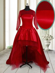 Taffeta and Tulle Scoop Long Sleeves Clasp Handle Bowknot Mother of Bride Dresses in Wine Red