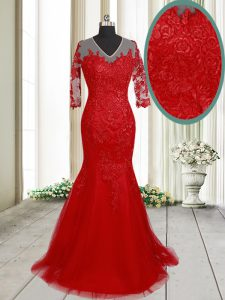 Mermaid Red Clasp Handle Mother of Groom Dress Lace Half Sleeves With Brush Train