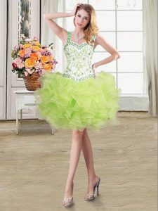 Straps Beading and Ruffles Mother of Bride Dresses Yellow Green Lace Up Sleeveless Floor Length