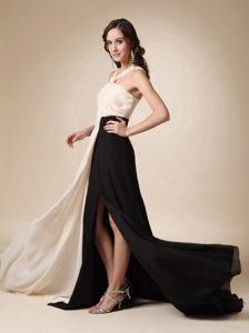Ruched Champagne and Black High Slit Mother of the Bride Dress