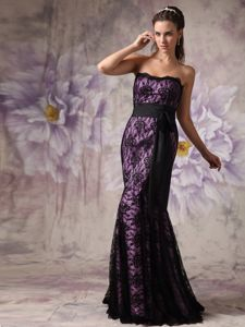 Strapless Purple and Black Mermaid Lace Dress for Bride Mother