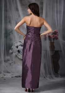Ankle-length Strapless Appliqued Mothers Dresses for Weddings