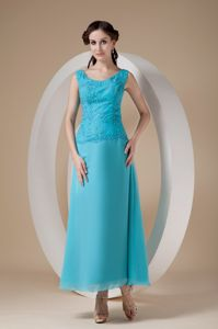 Ankle-length Scoop Appliqued Beading Mother of Bride Dresses