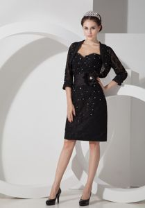 Beaded Knee-length Black Sweetheart Mother of the Bride Dresses