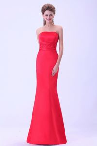 Floor-length Strapless Mermaid Coral Red Mother Bride Dresses