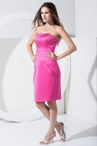 Discount Knee-length Strapless Hot Pink Mother of Bride Dress
