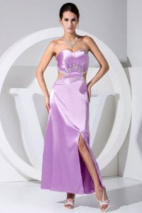 Beaded Cutouts Sweetheart Lilac Mother Bride Dress with Cutouts
