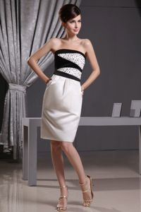 Strapless White and Black Knee-length Beaded Bride Mother of Bride Dress