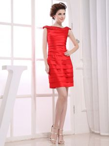 Cheap Mini-length Bateau Ruched Red Mother of Bride Dress for Weddings