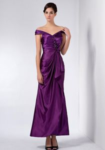 Ankle-length Purple off the Shoulder Mother of Groom Dresses