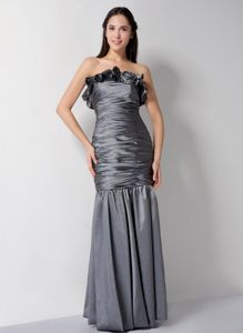 Hand Made Flower Strapless Ruched Grey Mother Bride Dresses