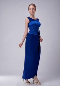 Hand Made Flower Ankle-length Scoop Blue Mother Bride Dress