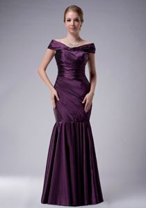 off the Shoulder Purple Ruched Mermaid Mother Bride Dresses