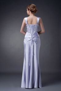 Straps Appliqued Ruched Lilac Column Mother of the Bride Dress