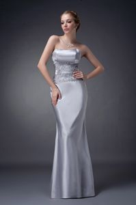 New Appliqued Lace Up Back Strapless Silver Mother Bride Dress