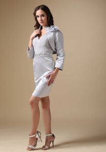 Grey V-neck Knee-length Mother Of The Bride Dress with Beading
