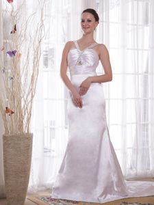 Ivory V-neck Beaded Court Train Mother of the Groom Dresses