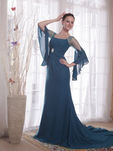 Navy Blue Sheath Chiffon Sweep Train Mother of the Bride Dress