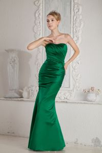 Green Mermaid Style Mother of the Bride Dress for Formal Prom with Ruches