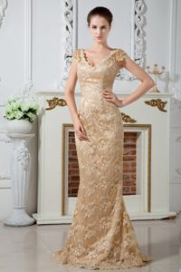 Champagne V-neck Mother of the Borde Dress in Lace Material