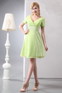 Short Sleeves Yellow Green Mother Bride Dresses for Wedding