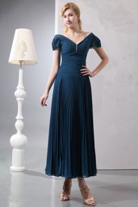 Navy Blue Ankle Length Mother of the Bride Dress with V-neck