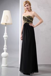 Black Sweetheart Long Formal Mother of the Bride Dress with Gold Appliques