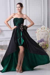 Black and Green Aline High-low Mother of the Bride Dress with Lace and Bow
